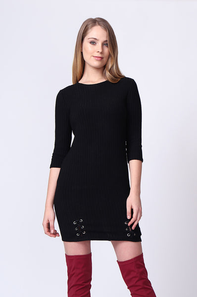 EYELET LACE UP RIBBED MINI DRESS