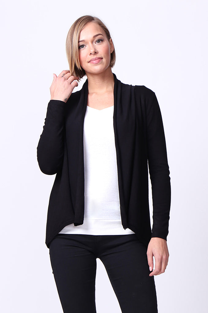SF0097-BLACK LONG SLEEVE ROLL EDGE CARDIGAN TOP
