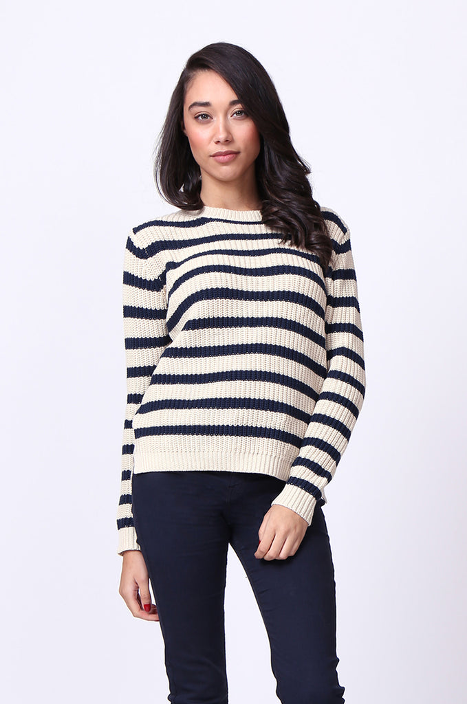 SF0020-NAVY STRIPE SLOPPY JUMPER view main view