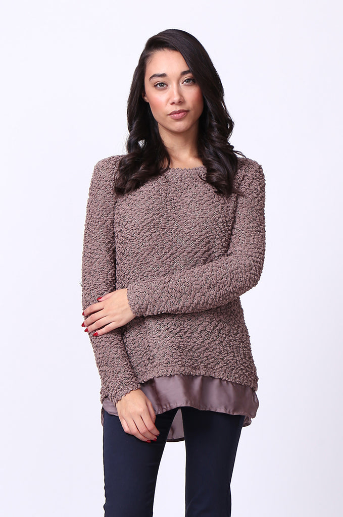 SF0022-BROWN BOUCLE CREWNECK LONG SLEEVE JUMPER