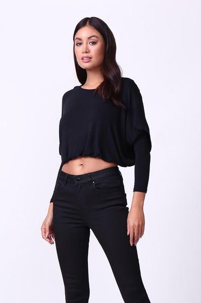 SCOOP NECK LONG SLEEVE KEYHOLE TOP