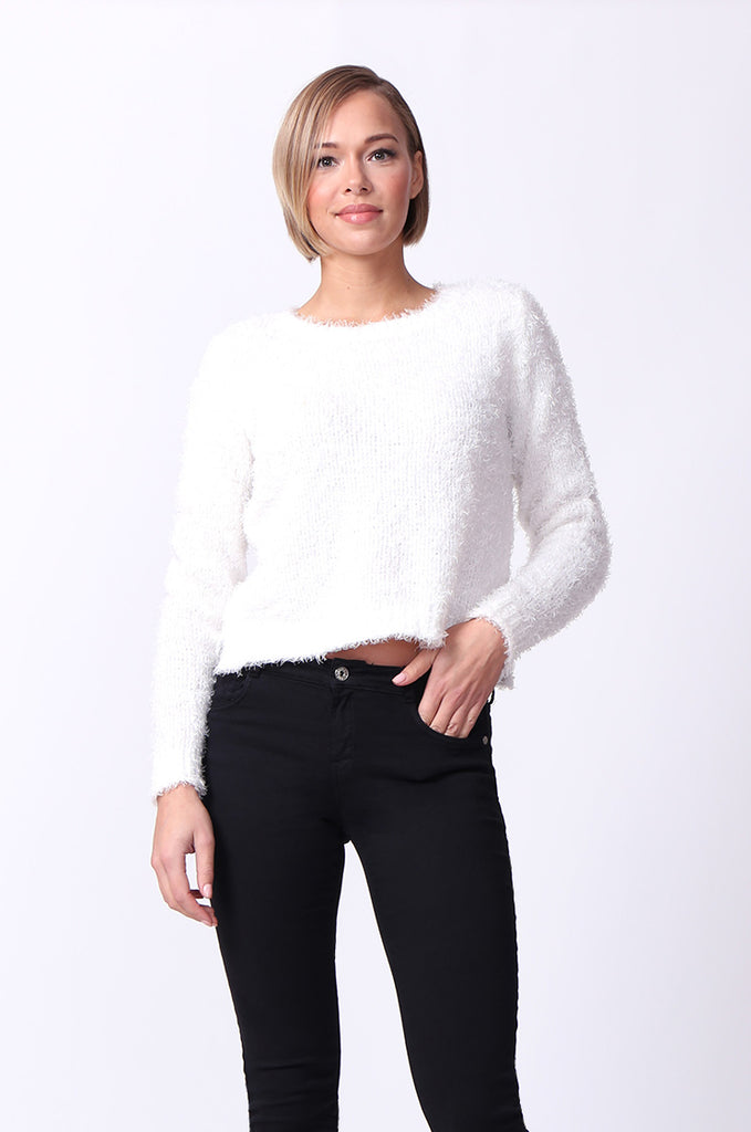 SF0060-CREAM FLUFFY LONG SLEEVE CREW NECK JUMPER view main view