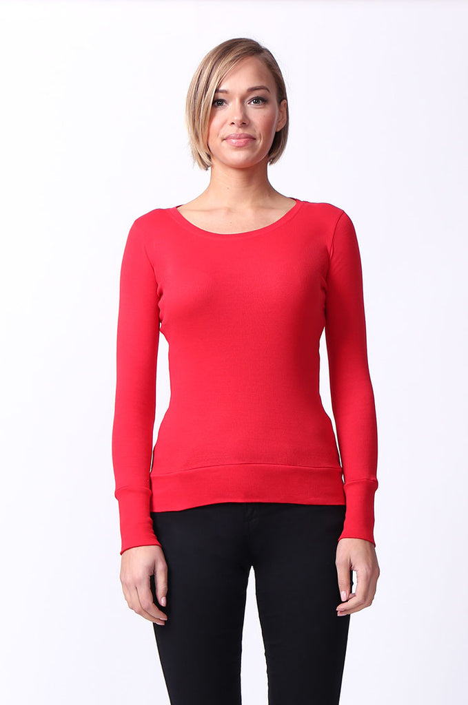 SF0063-RED BASIC SCOOP NECK LONG SLEEVE TEE