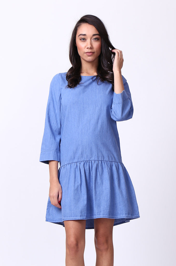 SF0030-BLUE DROP WAIST DENIM DRESS view 2