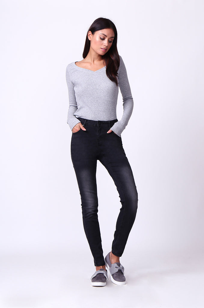 SF0099-BLACK WASHED SKINNY JEANS