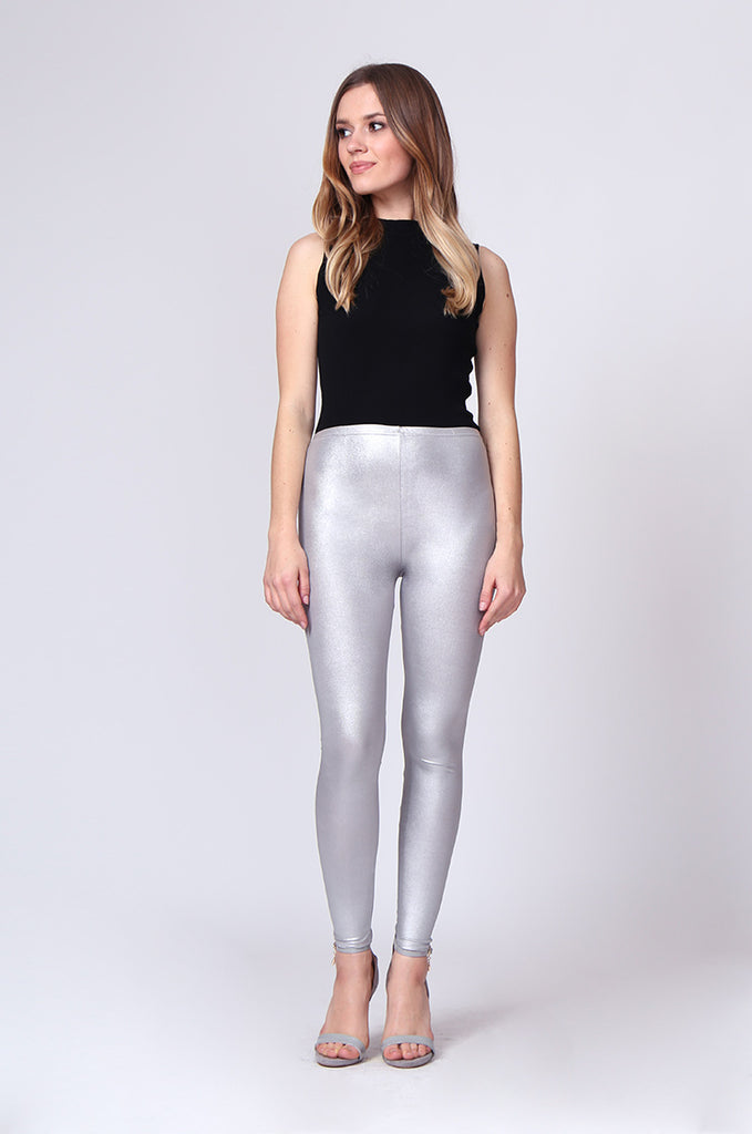 SMT0190-SILVER WET LOOK LEGGING view main view