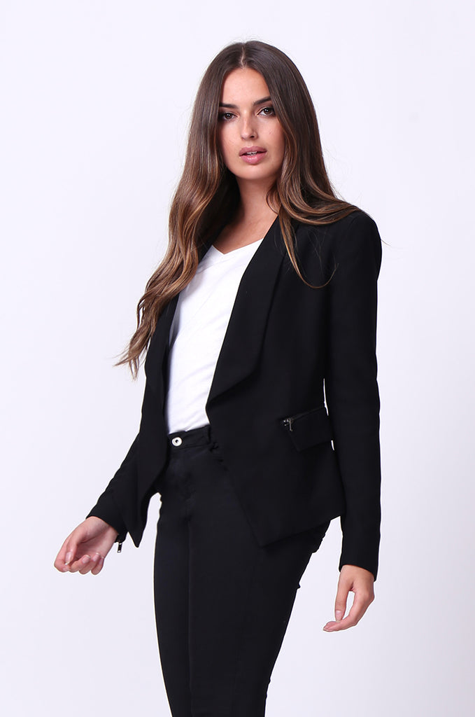 SC0001-BLACK ZIP POCKET BASIC BLAZER JACKET