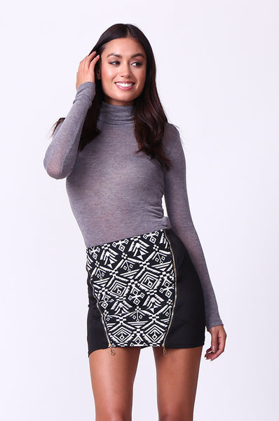 AZTEC FRONT ZIP MINI SKIRT