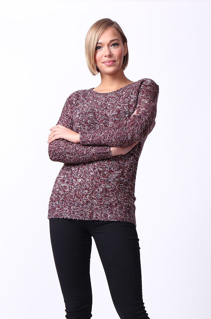 SF0072-ROSE TWEEDY LONG SLEEVE CABLE KNIT JUMPER