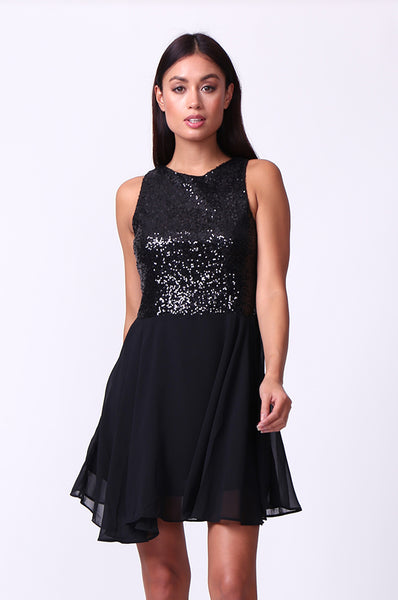 SEQUIN BODICE MINI DRESS