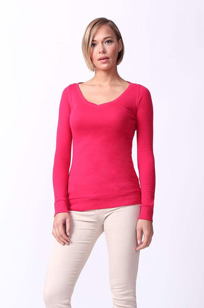 SF0064-PINK BASIC V-NECK LONG SLEEVE TEE