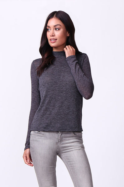 LONG SLEEVE ZIP MOCK NECK TOP
