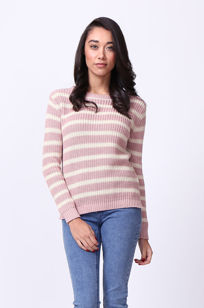 SF0020-PINK STRIPE SLOPPY JUMPER view main view
