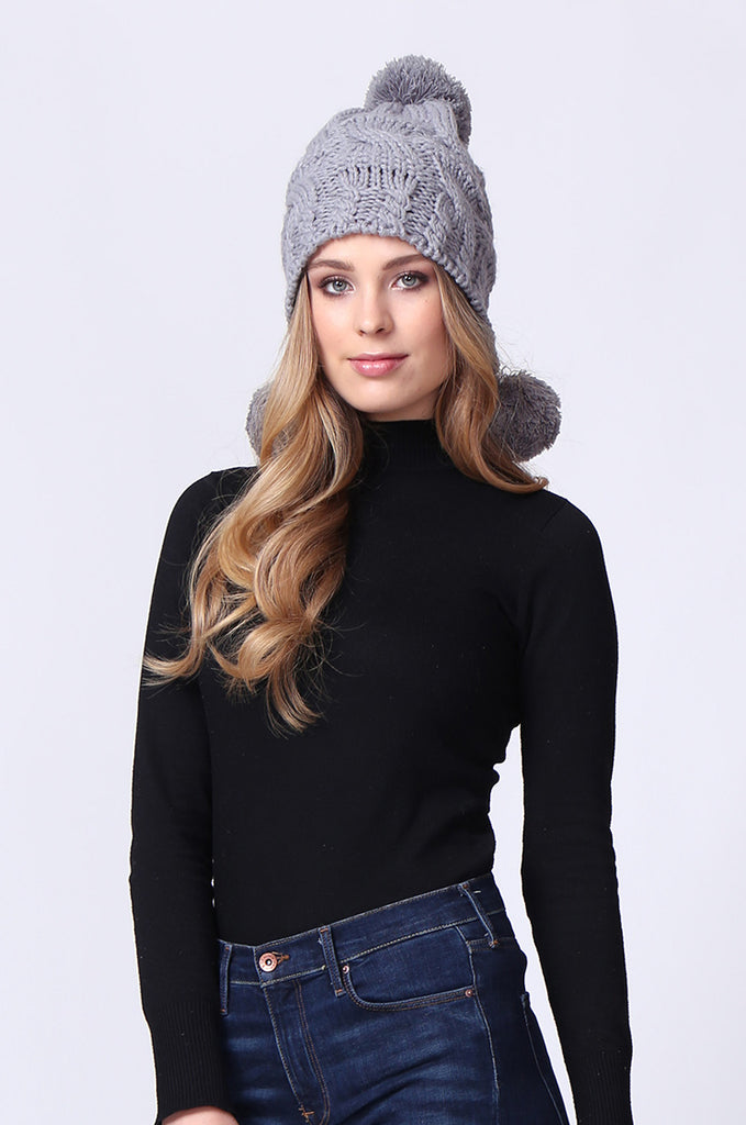 SMC0084-GREY BOBBLE CABLE KNIT HAT