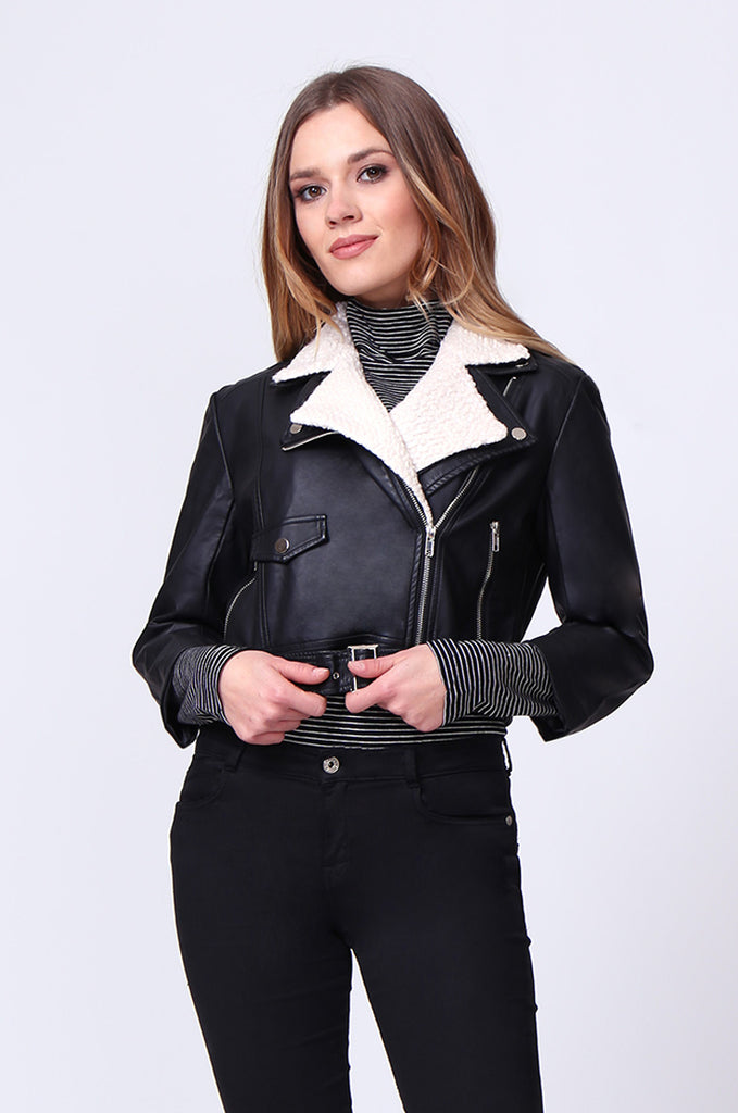 SD0195-BLACK MOTO PU BIKER JACKET