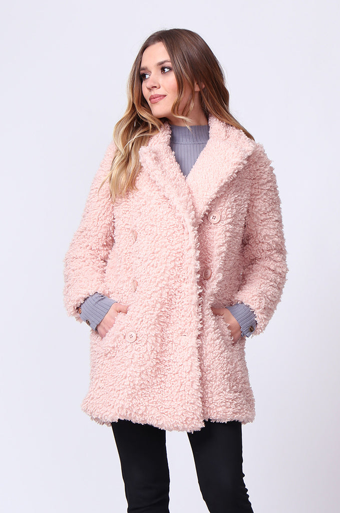 SD0196-PINK FLUFFY BOUCLE JACKET