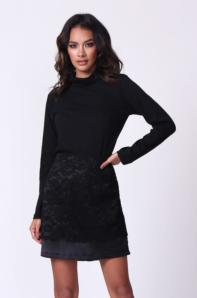 SP0121-BLACK LACE MINI SKIRT