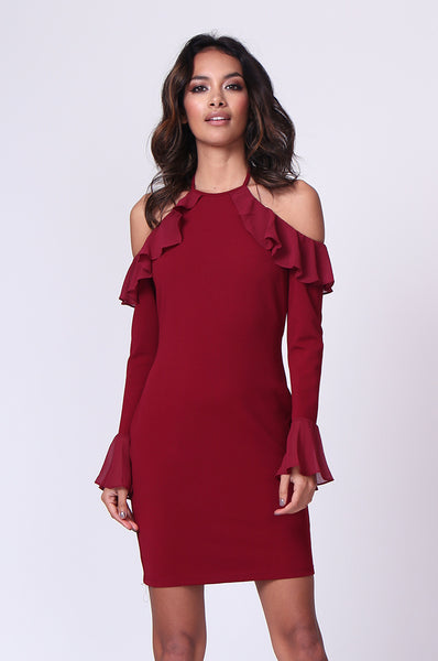 TIE NECK RUFFLE MINI DRESS