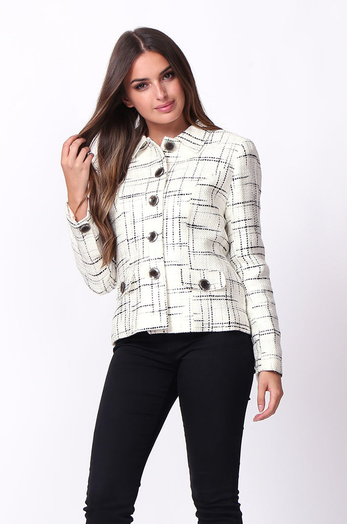 SC0002-CREAM TWEED TARTAN BLAZER JACKET