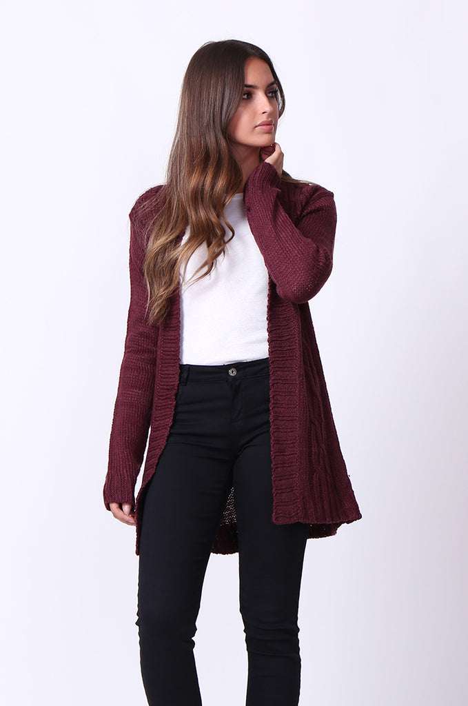 SF0067-WINE LONGLINE CABLE KNIT CARDIGAN