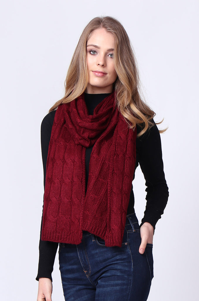 SMC0091-RED WIDE CABLE KNIT SCARF