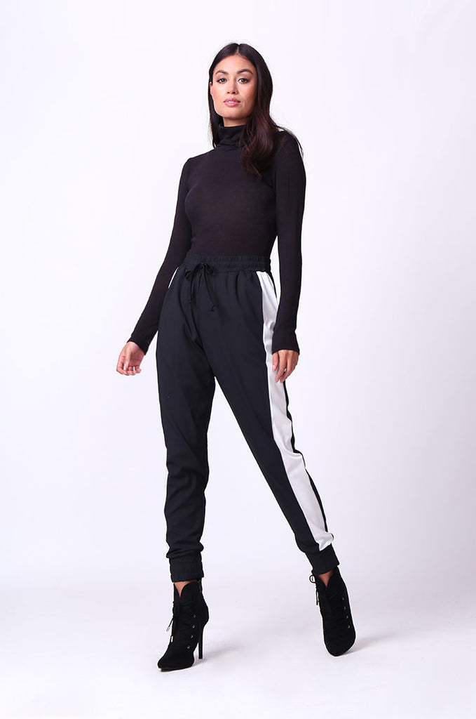 SP0135-BLACK SIDE STRIPE PANT