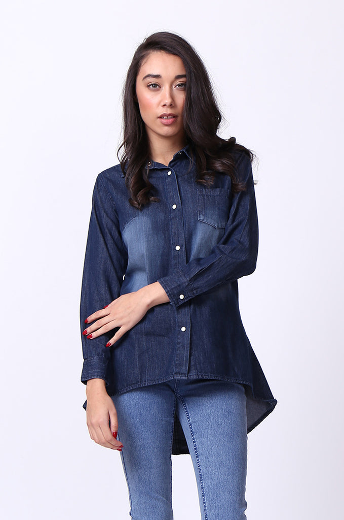 DENIM HI-LO SHIRT