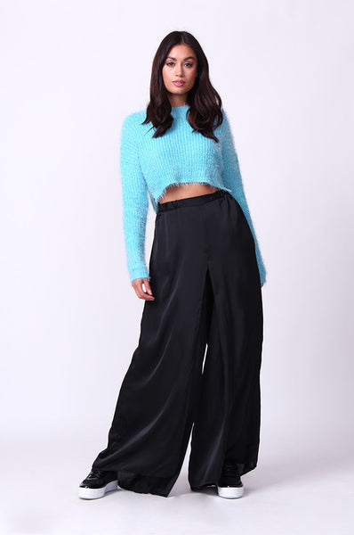 SATIN WIDE LEG SLIT PANT