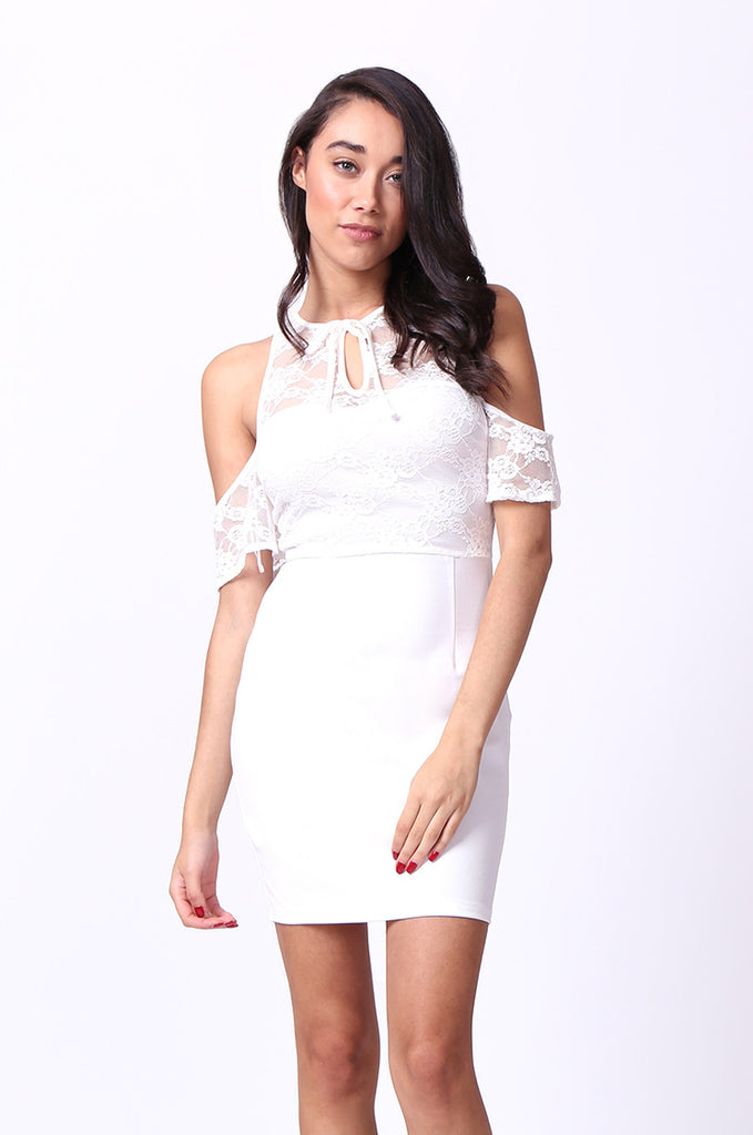 SPF0015-CREAM COLD SHOULDER LACE MINI DRESS