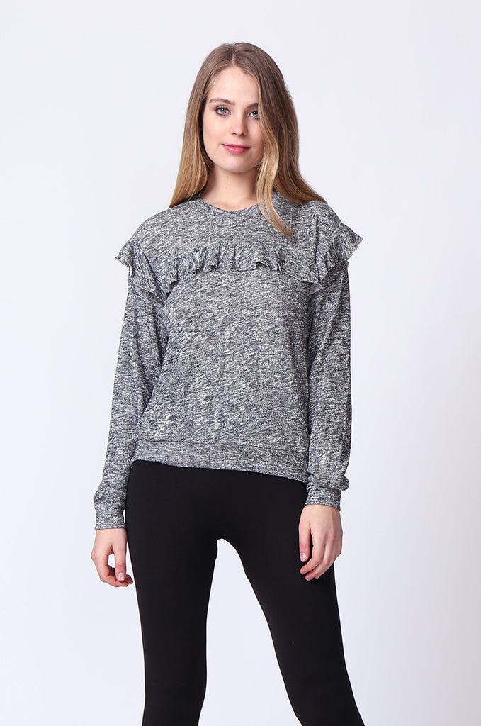 SJ0170-DARK GREY FRILLY SWEATSHIRT