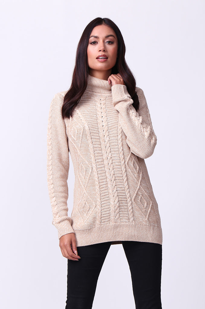 SF0100-BEIGE LONG SLEEVE CABLE KNIT TURTLENECK JUMPER