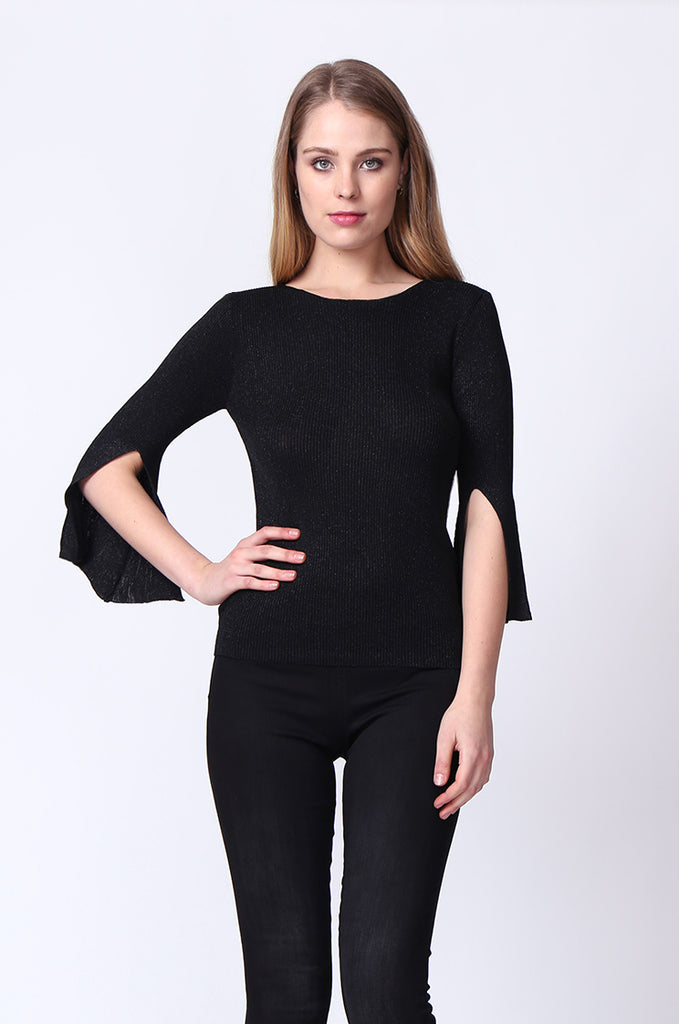 SJ0165-BLACK METALLIC FLARE SLEEVE KNIT TOP view main view