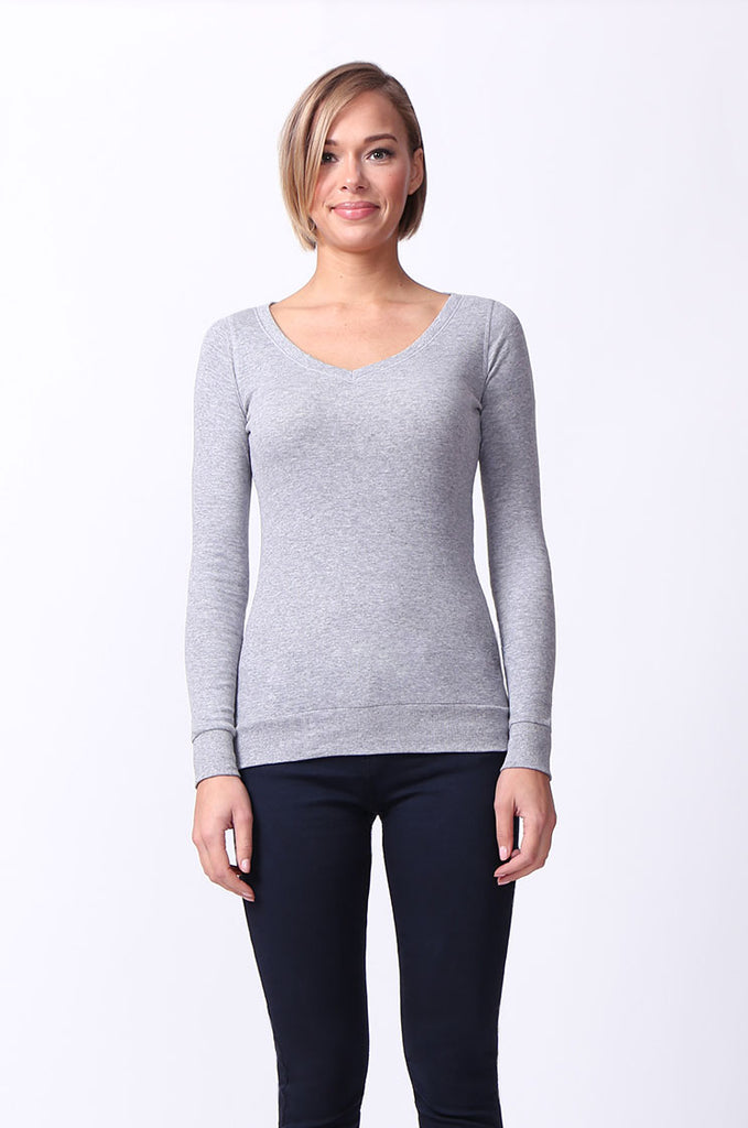 SF0064-GREY BASIC V-NECK LONG SLEEVE TEE view main view