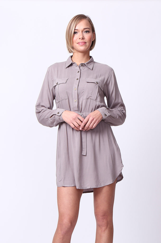 SF0093-GREY LONG SLEEVE BELTED SHIRT DRESS view main view