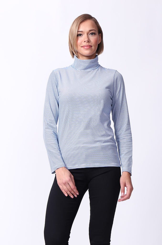 SF0024-BLUE STRIPED LONG SLEEVE BASIC TURTLENECK view main view