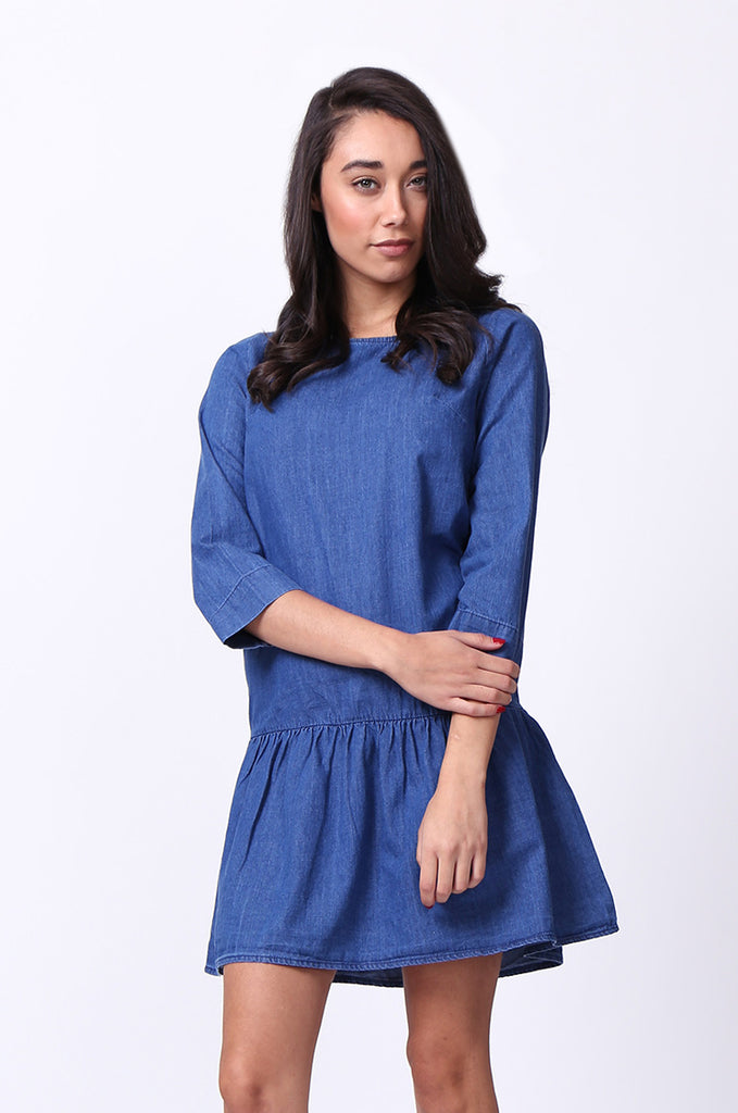 SF0030-DARK BLUE DROP WAIST DENIM DRESS view 2