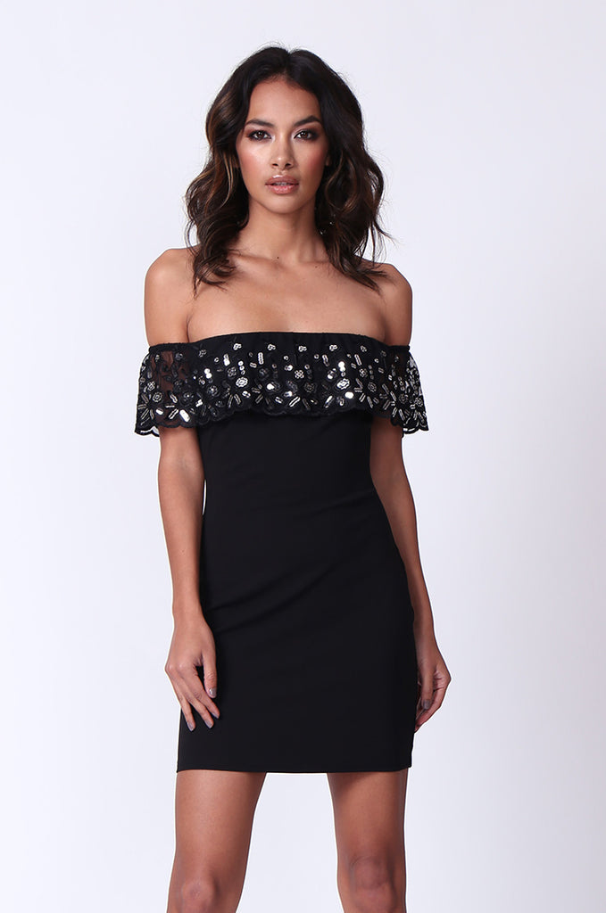 OFF SHOULDER SEQUIN MINI DRESS