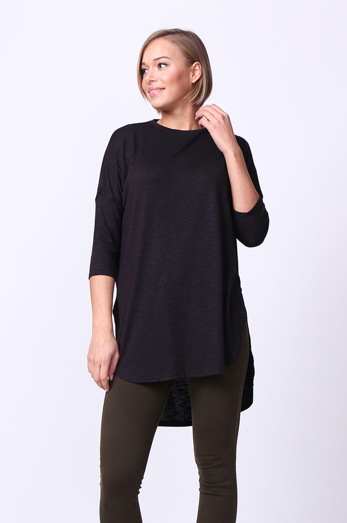 SF0073-BLACK HI-LO CREW NECK TEE