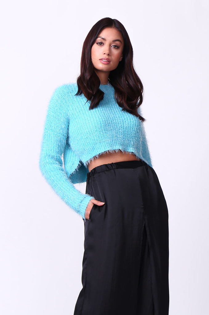 SP0132-BLUE MOHAIR LONG SLEEVE CROP JUMPER