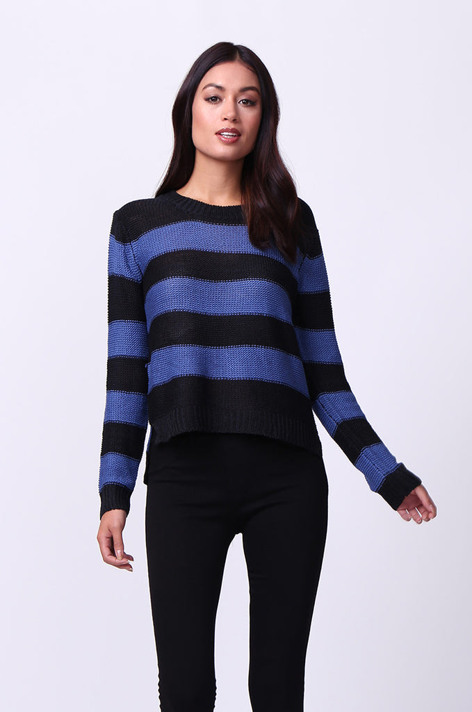 SF0058-BLACK BLOCK STRIPE CREW NECK JUMPER