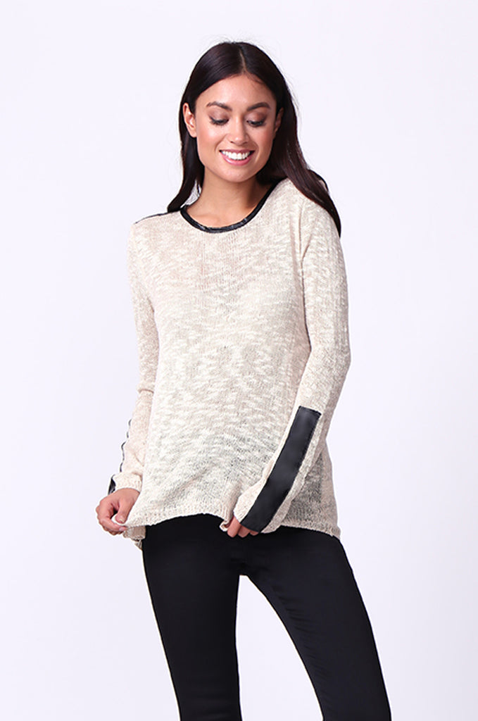 SP0134-CREAM LEATHERETTE TRIM LONG SLEEVE JUMPER