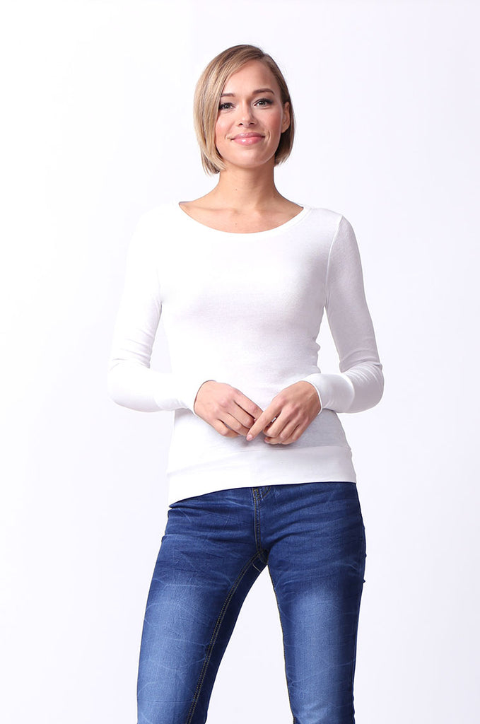 SF0063-WHITE BASIC SCOOP NECK LONG SLEEVE TEE