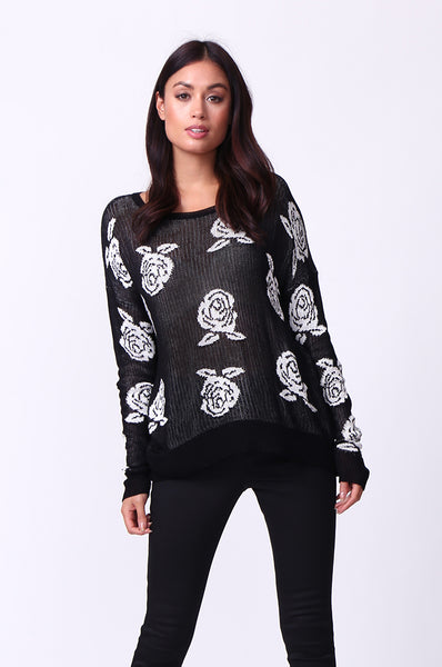 ROSE PRINT LONG SLEEVE CREWNECK JUMPER