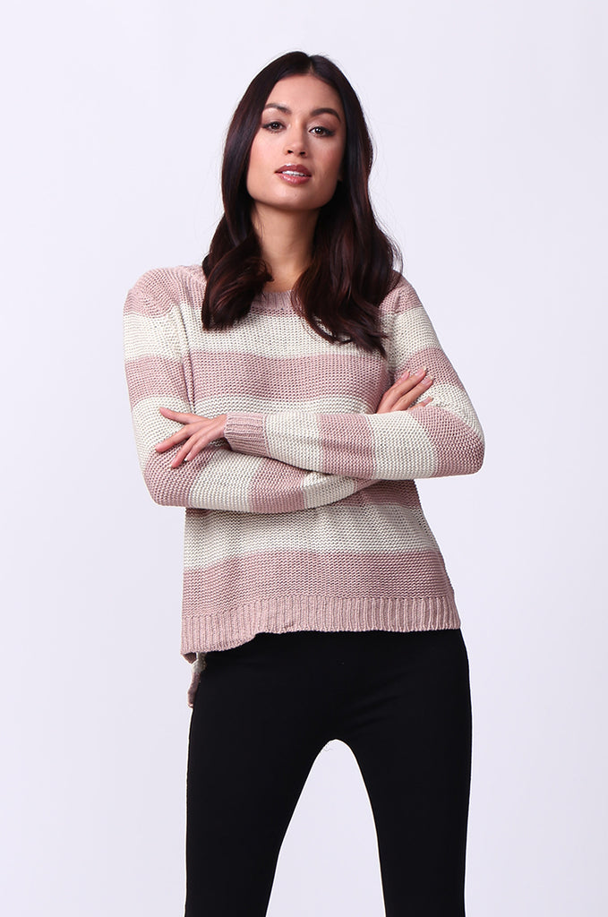 SF0058-CREAM BLOCK STRIPE CREW NECK JUMPER