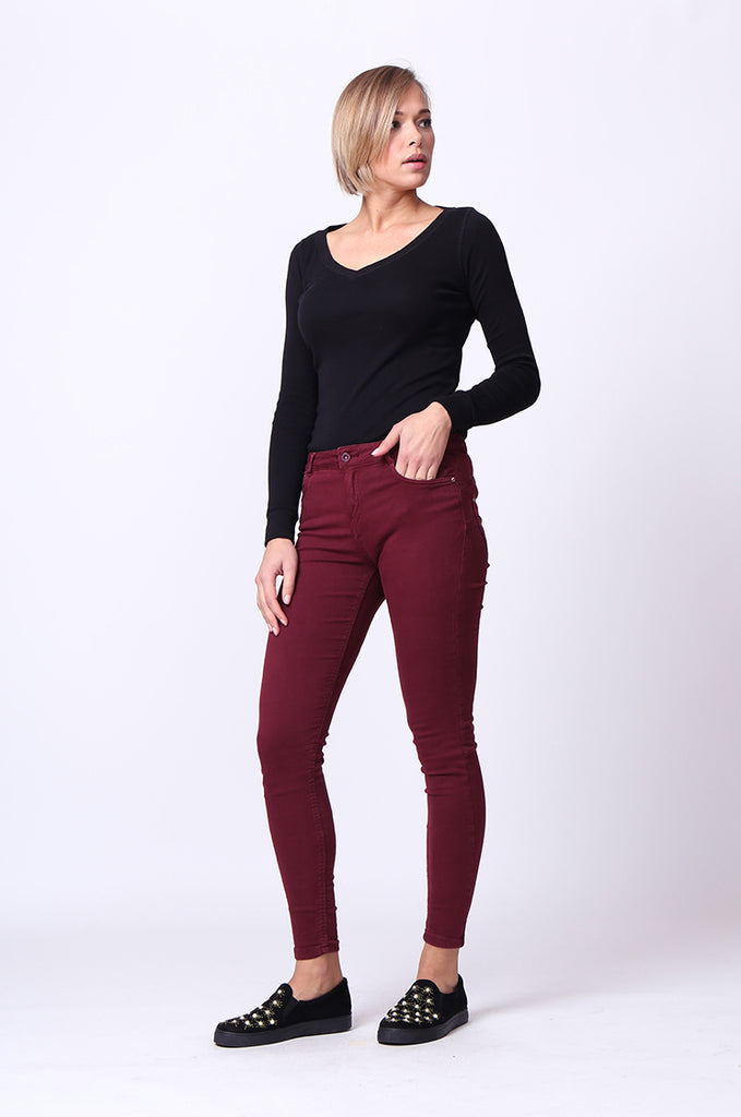 SF0027-MAROON TWIL SKINNY JEANS view main view