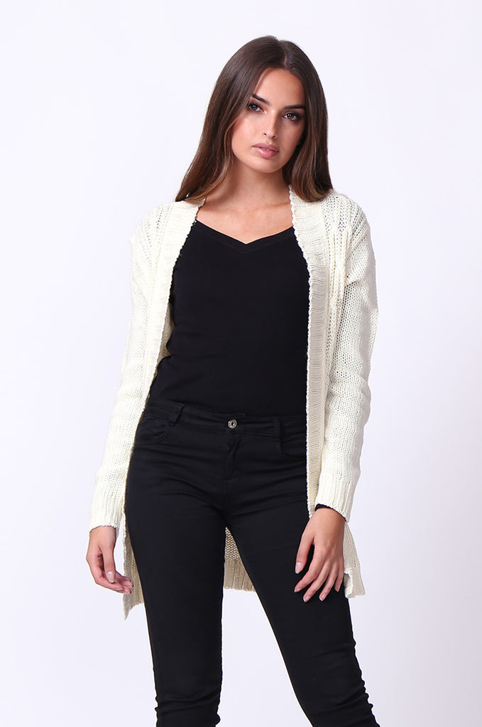 SF0067-CREAM LONGLINE CABLE KNIT CARDIGAN
