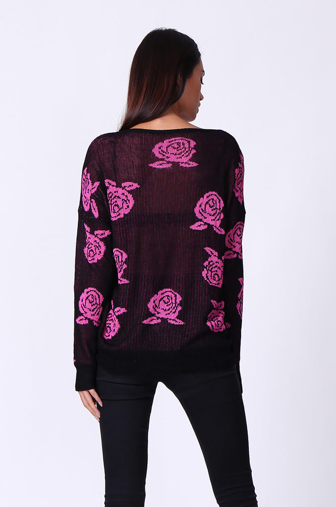SP0125-RED ROSE PRINT LONG SLEEVE CREWNECK JUMPER view 3