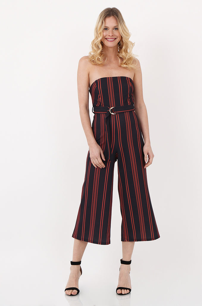 SOY2442- NAVY & ORANGE BELTED STRIPE STRAPLESS JUMPSUIT