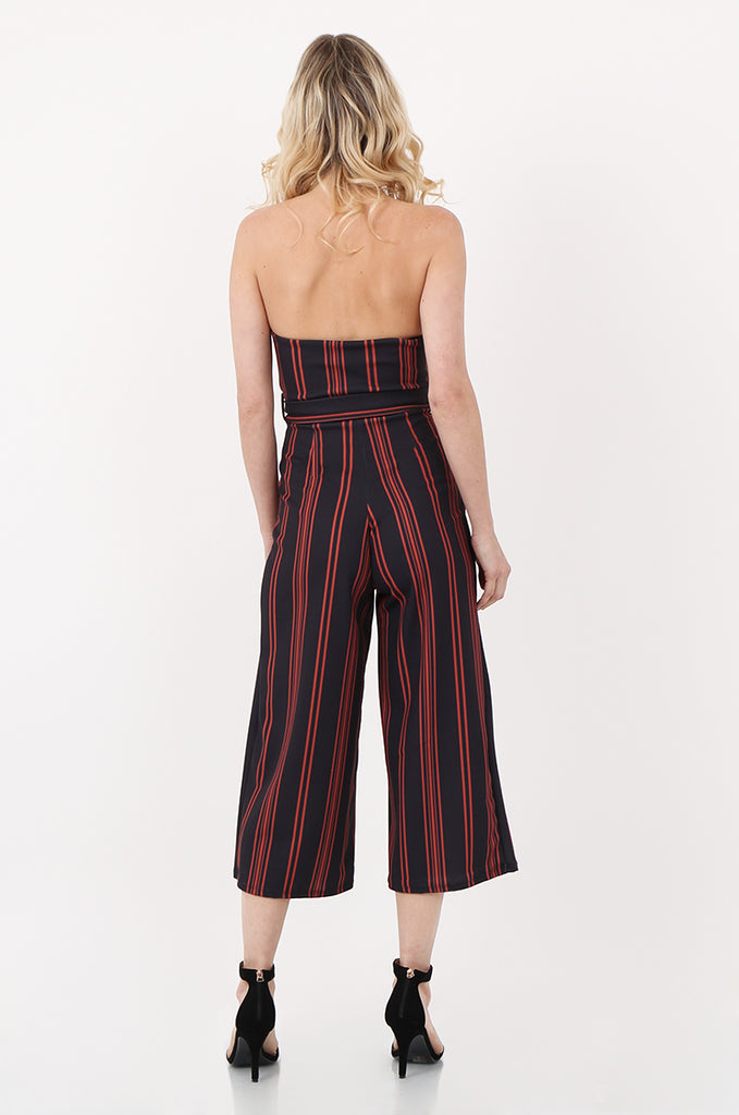 SOY2442- NAVY & ORANGE BELTED STRIPE STRAPLESS JUMPSUIT view 3