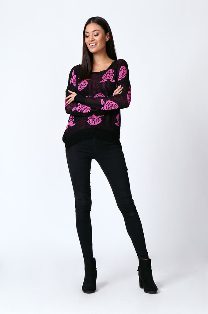 SP0125-RED ROSE PRINT LONG SLEEVE CREWNECK JUMPER view 4